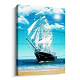 Canvas Wall Art Blue Seascape Paintings Bedroom wall Decor Modern Landscape Sail Boat in Ocean Artwork Framed for Living Room Bathroom Office Home decor Beach for Ready to Hang Pictures Size 16x24