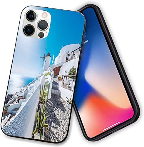 Funda compatible con iPhone 12 Series, antigua localidad de Oia en la isla de Santorini Grecia con Egeo Seary, TPU suave a prueba de golpes para iPhone 12 Pro max-6.7 pulgadas