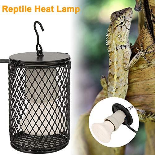 UV-reptielenlamp, lamp voor waterschildpadden Anti-brandwerende reptielenverwarmingslamp met lampafdekking Bescherming Amfibieën Slang Vogels Kip Gevogelte 100 W