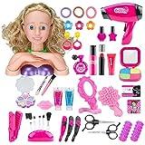Leic Juego de simulación de Maquillaje 42 Piezas simulación de Dibujos Animados Cabeza de muñeca Peinado Juguete de...