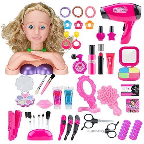 Bxwin Rollenspiel Schminkset, 42 Stück Trainingsköpfe für Friseure und Schminken Kinder Schminkset Spielzeug mit Haartrockner Spielzeug and Schminkkopf für Kinder
