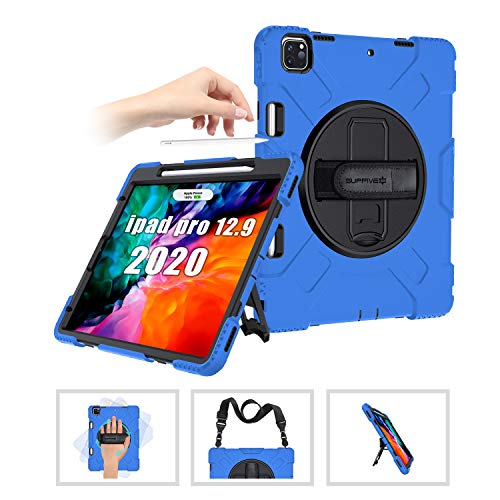 SUPFIVES iPad Pro 12.9 inch 4th & 3rd Generation Case 2020/2018 with Pencil Holder Support Charging+Hand Shoulder Strap+360 Rotatable Stand Protective Case for iPad Pro 12.9'' 2020/2018(Blue)