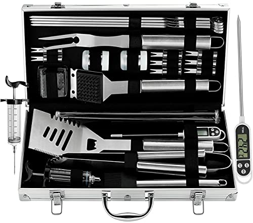 grilljoy BBQ Grill Tool Set, 25pcs Stainless Steel BBQ Accessories in Storage Case, Premium Complete Outdoor BBQ Utensil Set