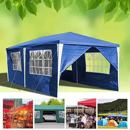 wolketon Pavillon Wasserdicht Gartenpavillon mit Seitenwände Polyethylen Bierzelt Tür mit Reisverschluss für Garten Party Hochzeit (3x6M, Blau)