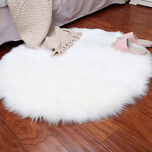 Alfombra de Lana Faux Piel de Las ovejas 30 x 30 cm Estera de Alfombra mullida Decorativo cojín Suave sofá Silla de Pelo Largo (en Blanco Redondo)