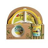 Fikujap Fibra de bambú bebé Dibujos Animados Comiendo vajilla para niños Placa de Cena para niños Platos de alimentación niños Entrenamiento tazón Cuchara Tenedor 5pcs / Set,Zebra