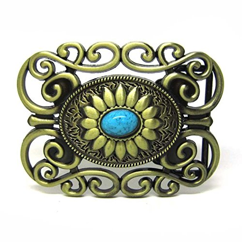 Celtic Lady Cowgirl Ranch Flower Floral Turquoise Belt Buckle Boucle De Ceinture