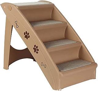 Knikglass ペットステップ 折りたたみ式 折りたたみステップ 4犬用階段 ノンスリップ ペット用階段折りたたみ ドッグステップ 軽量階段 プラスチック製 アクセスステップ 階段 ペットはしご 小型から大型のペットに最適 (A)