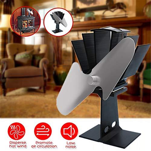ZDYLM-Y Stromloser Ventilator für Kamin, Aluminium Silent-Eco-Friendly und effiziente Wärmeverteilung Kamin Ventilator, für Holz/Holzofen, Schwarz
