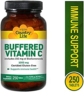 Country Life Buffered Vitamin C 1000 mg, Plus 150 mg of Bioflavonoids, 250 Tablets