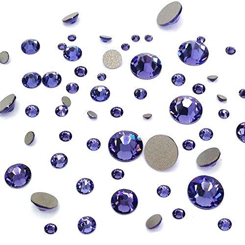 TANZANITE (539) purple violet 144 pcs Swarovski 2058/2088 Crystal Flatbacks purple rhinestones nail art mixed with Sizes ss5, ss7, ss9, ss12, ss16, ss20, ss30