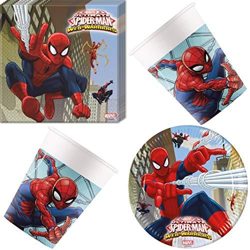 Spider-Man Web-Warriors 36 teiliges Geschirr-Set Tischgeschirr Teller Servietten und Becher für Kinder Geburtstag Partygeschirr 8 Personen