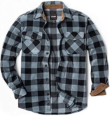 CQR Men's Long Sleeve Heavyweight Fleece Shirts, Plaid Button Up Shirt, Warm Corduroy Lined Collar & Cuffs Shirt, Polar Fleece(hos210) - Grey, X-Large