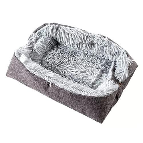 SCDCWW Cama y alfombrilla para gatos 2 en 1, cojín para casa de perro pequeño, cesta plegable de felpa para mascotas, manta, alfombra cálida, tumbona para cachorros, perrera, camas para gatos de felpa