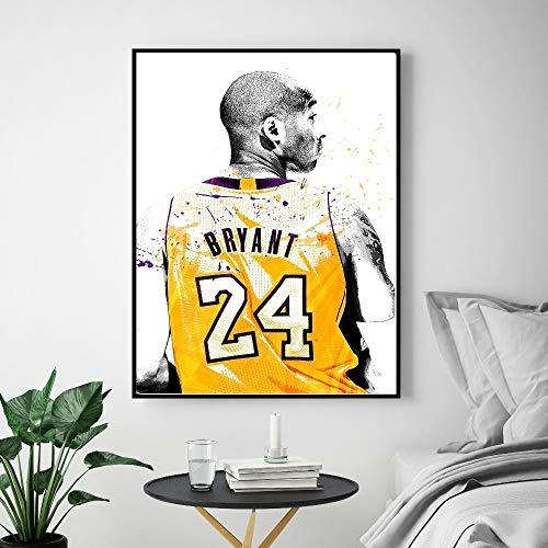 N-A Leinwand Malerei Kobe Bryant Poster Basketball Moderne Einfache Wohnzimmer-Dekoration Gemälde Basketballspieler Hotel Apartment (Size : 60X80cm no Frame)