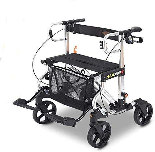 FEE-ZC Plegable Portátil Plegable Portátil Antiguo Carro de Compra Bicicleta de Aluminio de Cuatro Ruedas con Canasta de Compras, Frenos y Pedales