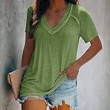 Momyeah Manga Corta Camiseta para Mujer Verano de Manga Corta con Cuello en V Blusa de Color sólido Suelta Informal al Aire Libre para Mujer Adecuado para Muchas Ocasiones, Verde, M