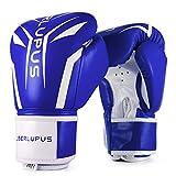 Liberlupus Cool Style Boxing Gloves for Men & Women, Boxing Training Gloves, Kickboxing Gloves, Sparring Gloves, Heavy Bag Gloves for Boxing, Kickboxing, Muay Thai, MMA(Blue& White, 14 oz)