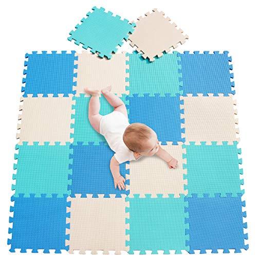 meiqicool Alfombras Puzzle para Bebé Alfombrilla Niño Suelo Goma EVA,Alfombra Puzle 1.62㎡ Niños Goma Espuma Estera Juego Puzzle Azul Turquesa y Beige 070810