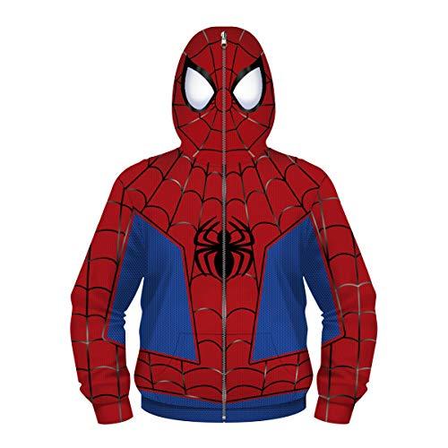 3D Superhero Venom Hoodie Spider-Man Sports Hoodie Chaqueta De Moda para Hombre Chaqueta De Moda para Niños Pequeños Ropa(Size:Metro,Color:Rojo-A)