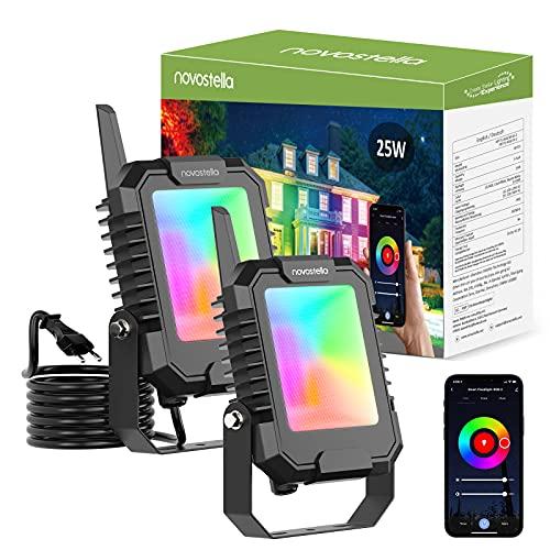Novostella BLink Faretto LED RGB Esterno Intelligente 25W, 2 Pezzi Proiettore Controllo APP 16 Milioni di Colori e 8 Modalità Sincronizzato con Musica, IP66 Impermeabile Faretti per Giardino Terrazza