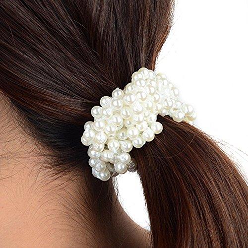 Asien Frauen Perlen Perlen Haar Band Seil Haargummi Pferdeschwanz Inhaber (weiß)