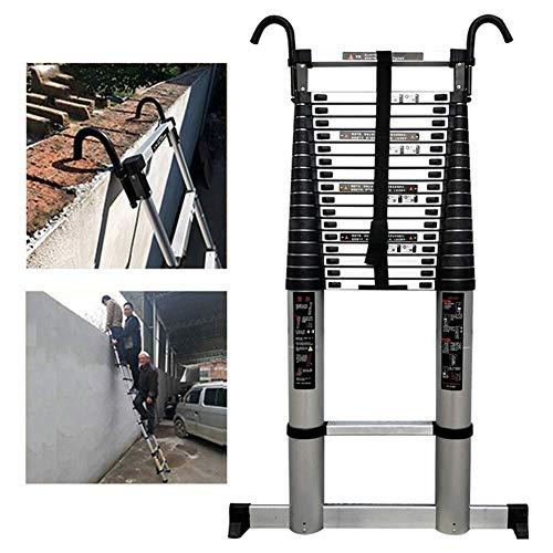 ZHPBHD Escalera de extensión telescópica con Ganchos y Barra estabilizadora, Plegable de Aluminio telescópica for Subir la Escalera Loft Cubierta al Aire Libre Oficina de la Casa, 150 kg de Carga