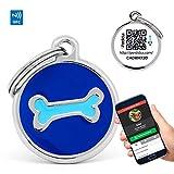 PERDIDUS Placa Identificativa para Perros QR y NFC. Sistema GPS Hueso Celeste.
