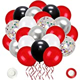 CUTEDECOR 62 Pack Red Black Confetti Balloons Kit,12 Inch Black Red White Confetti Balloons Metallic Silver Balloons for Wedding Party Birthday Baby Shower Graduation Decorations Supplies