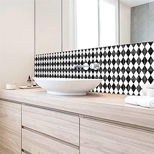 vinilos pared,Pegatinas de baldosas de celosía en blanco y negro de diamantes, sala de estar, cocina, baño, fondo, pegatinas de baldosas extraíbles impermeables, 10 piezas -15 CM