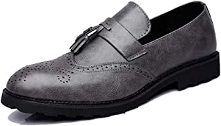 Sygjal Men's Fashion Oxford Casual Fringed Sculpture Breathes One Pedal Brogue Shoes Black (Color : Gray, Size : 46 EU)