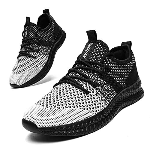 EGMPDA Laufschuhe Herren Sneaker Sportschuhe Schuhe Herren Sneaker Turnschuhe Joggingschuhe Tennisschuhe Freizeitschuhe Männer Schuhe Running Shoes for Men Schwarz 46 EU