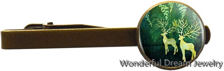 Deer Art Logo Tie Pin Tie Clip Fashion Handmade Resin Cabochon Chain Accessories Tie Clip Women,PU389 (Brass)