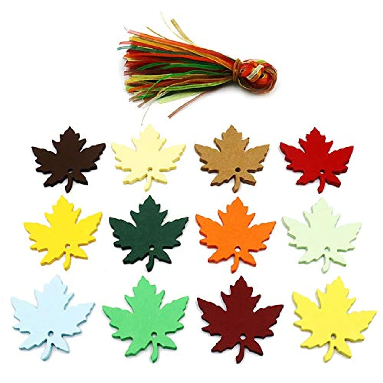 120 Pcs 12 Colors Maple Leaves Gift Tags with Strings Fall Wedding Party Favors Tags