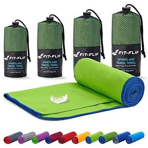 Fit-Flip Reisehandtuch Set – in Allen Größen / 18 Farben – Ultra leicht & kompakt – das perfekte Fitness Handtuch, Strandliegenhandtuch und Trekking Handtuch (70x140cm, Grün mit Dunkelblauen Rand)
