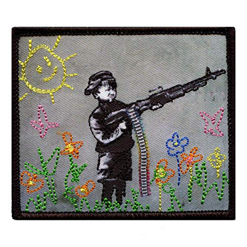 Banksy Crayon Shooter Photo Patch Street Art Embroidered Iron On