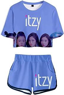 FEIRAN Manga Corta ITZY Camisetas y Pantalones Cortos para niñas con Estampado en 3D Conjunto Casual con C XS