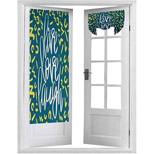 Cortina opaca para puerta francesa, diseño de póster romántico con un texto inspirador, 2 paneles-66 x 172 cm, panel térmico aislado para puerta de cristal, color violeta azul, blanco y amarillo