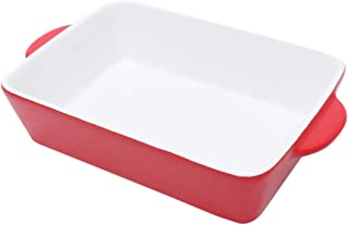 Cabilock Ceramic Bakeware Rectangular Baker Baking Dish Roasting Lasagna Pan Porcelain Baking Dishes with Handle for Oven Red