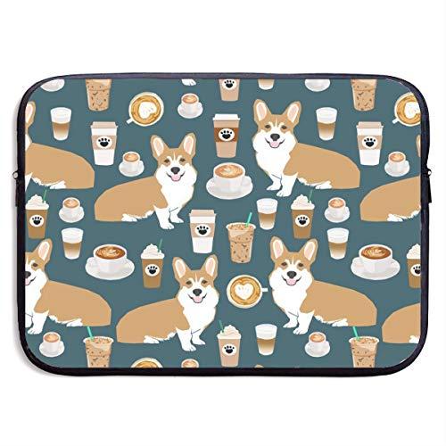 HOODSWOP Cute Corgi Pet and Milk Tea Print Waterproof Laptop Sleeve, Laptop Sleeve Bag- Stylish Cute Neoprene Notebook Carrying Case Handbag for 13' 15'