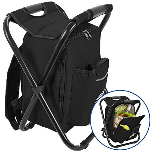 Outrav Black Backpack Cooler and Stool - Collapsible Folding Camping Chair and Insulated Cooler Bag with Zippered Front Pocket and Bottle Pocket – for Hiking, Beach and More