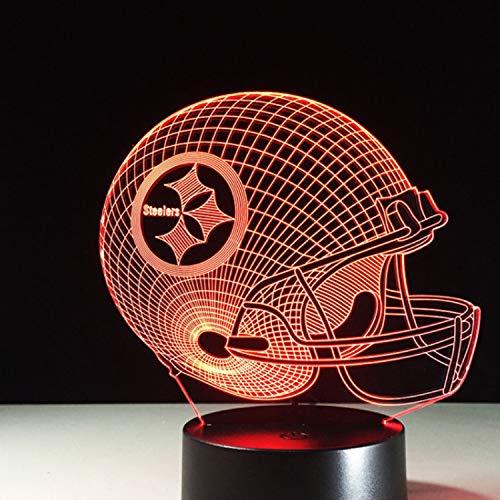 7 Farben Ändern 3D Led Nachtlicht Nfl Team Pittsburgh Steelers Football Helm Touch Sensor Usb Tischlampe Wohnkultur Kinder Geschenk