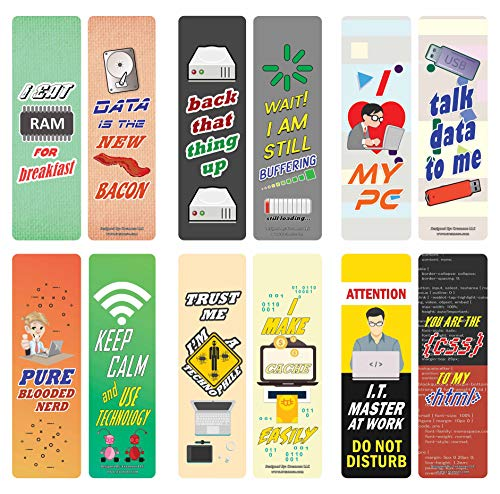 Creanoso Funny Sayings Techie Bookmarks (60-Pack) – Great Party Favors Card Set – Epic Collection Set Book Page Clippers – Cool Gifts for Nerds, Geeks, Programmers – DIY Kit – Rewards Giveaways