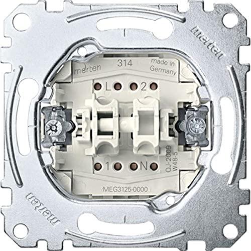 Merten MEG3125-0000 Serienschalter-Einsatz mit N-Klemme, 1-polig, 10 AX, AC 250 V, Steckklemmen