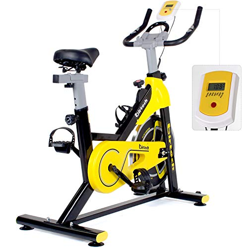 Birtech Upright Exercise Bikes, Indoor Studio Cycles - Hight Quality with Large Flywheel, Belt Drive, 7-Function LCD Display Monitor, IPAD Holder【2019 New Mode Yellow】