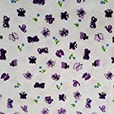 Zen Creative Designs Flannel Fabric 45' Wide Fabric by The Yard Soft 100% Cotton Flannel Ducks & Butterflies Print Perfect for Arts & Craft, Sewing, Projects, Personal Use & More (Butterflies Purple)