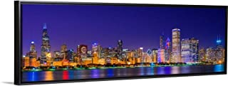 Floating Frame Premium Canvas with Black Frame Wall Art Print Entitled Chicago Skyline with Cubs World Series Lights Night 36