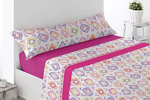 Juego de sábanas Estampadas de Microfibra Transpirable Mod. Sosbar (Disponible en Varios tamaños y Colores) (Fucsia, Cama de 150 cm (150_x_190/200 cm))