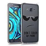 kwmobile Funda Compatible con Samsung Galaxy J5 (2015) - Carcasa de TPU y Don't Touch my Phone en Negro/Transparente