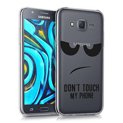kwmobile Custodia Compatibile con Samsung Galaxy J5 (2015) - Cover Silicone TPU - Protezione Back Case - Don't Touch My Phone Nero/Trasparente